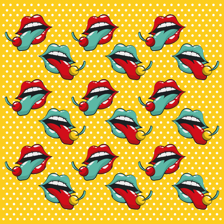 Pop art vibrant retro lips mouth lipstic tongue card mosaic background vector illustration graphic design Vectores
