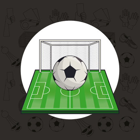 Soccer sport game equipment round emblem black background vector illustration graphic design