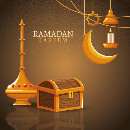 ramadan kareem with waning moon and islamic art ramadan kareem with oillamp and mosque shape vector illustration