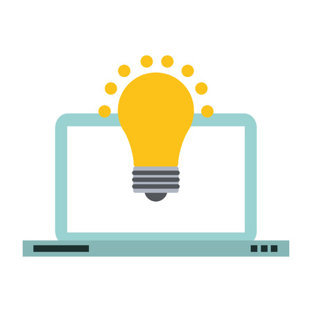 Laptop computer and bulb light idea symbol vector illustration graphic design Stock Illustratie