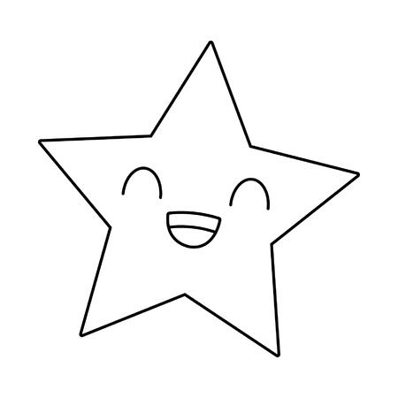 Star smiling cute kawaii cartoon vector illustration graphic design
