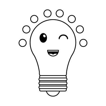 Bulb light smiling cute kawaii cartoon vector illustration graphic design  イラスト・ベクター素材