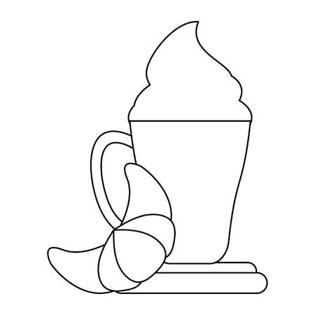 Taza de café con leche con crema y croissant ilustración vectorial diseño gráfico