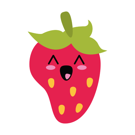 Strawberry cute kawaii cartoon vector illustration graphic design