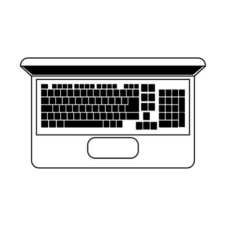 Laptop computer technology topview vector illustration graphic design