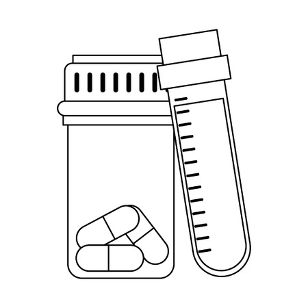 Medical healthcare supplies blood sample and pills bottle