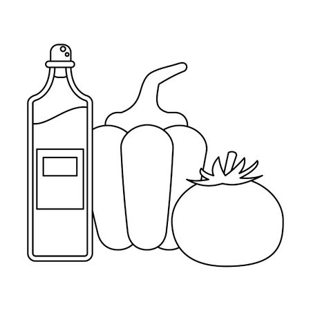 Tomato pepper and olive oil bottle vector illustration graphic design