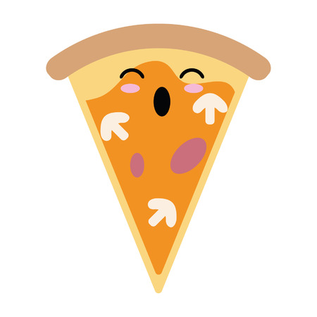 Pizza fast food cute kawaii cartoon vector illustration graphic design 일러스트