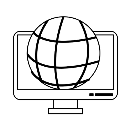 Computer screen with global sphere symbol vector illustration graphic design