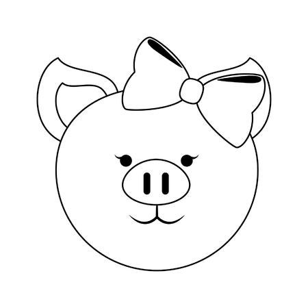 Pig female with bow cute animal cartoon vector illustration graphic design