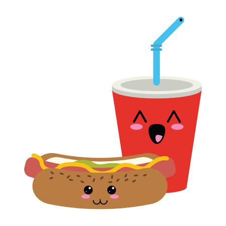 Fast food soda and hot dog kawaii cartoon vector illustration graphic design