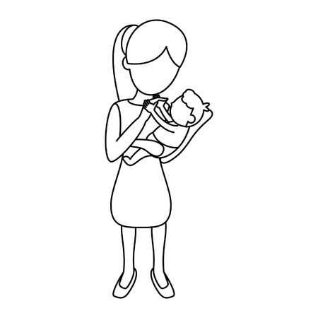 Mother with baby cartoon vector illustration graphic design