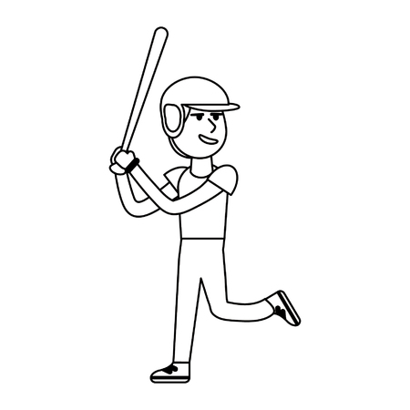 Baseball player with bat cartoon vector illustration graphic design