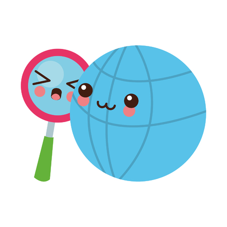 Global sphere and magnifying glass cute kawaii cartoon vector illustration graphic design