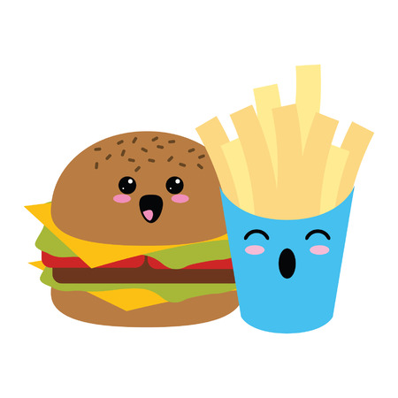 Fast food kawaii hamburger and french fries cartoon vector illustration graphic design Vettoriali