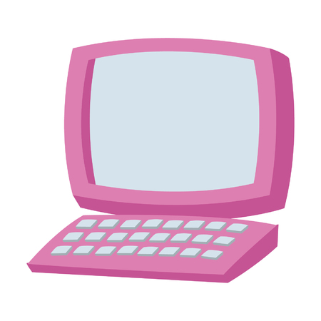 Desk computer with keyboard cartoon vector illustration graphic design