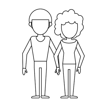Couple boyfriend and girlfriend clasped hands cartoon vector illustration graphic design Illustration