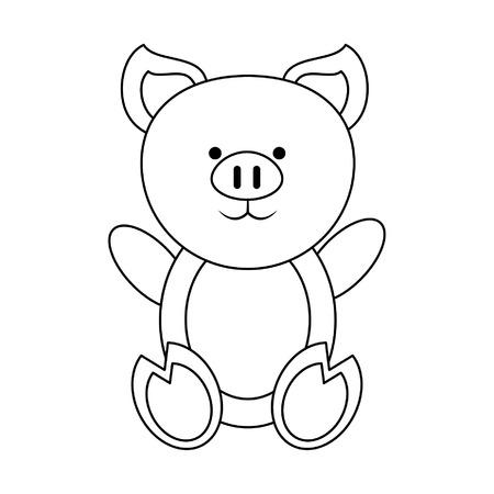 Pig cute animal cartoon vector illustration graphic design Ilustração