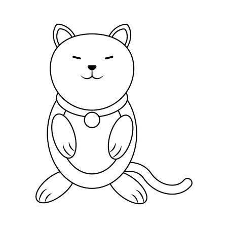 Cat cute animal cartoon vector illustration graphic design Ilustração