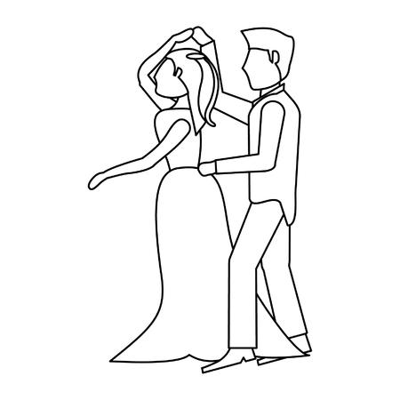 Wedding couple dancing cartoon isolated vector illustration graphic design Illustration
