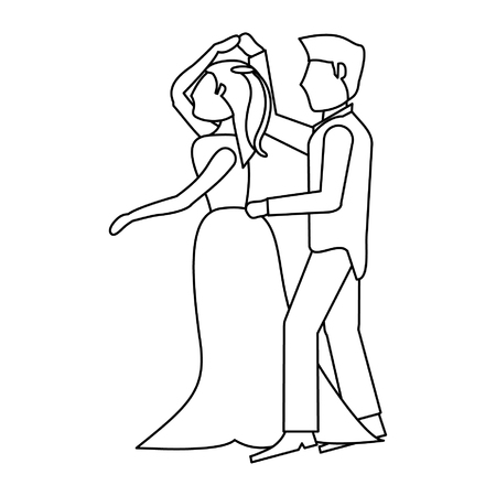 Wedding couple dancing cartoon isolated vector illustration graphic design Illustration
