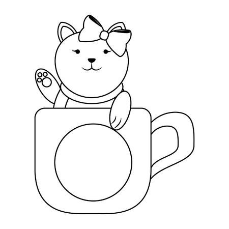 Cat inside mug cartoon vector illustration graphic design