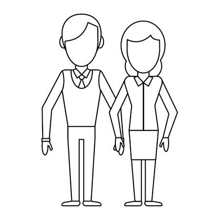 Couple boyfriend and girlfriend clasped hands cartoon vector illustration graphic design Çizim
