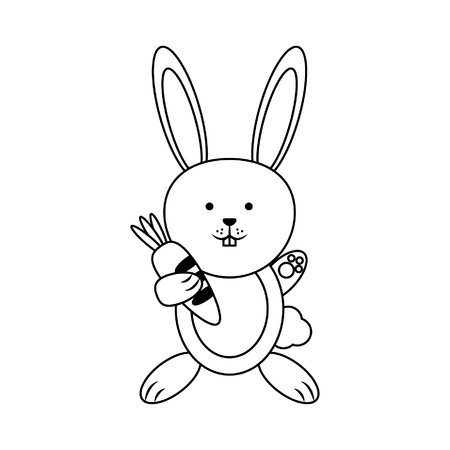 Rabbit with carrot cartoon vector illustration graphic design