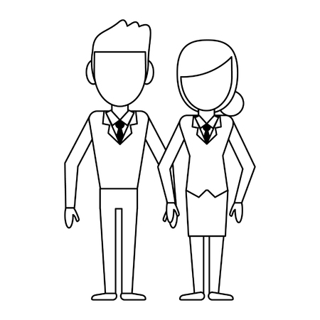 Businessman and businesswoman couple cartoon vector illustration graphic design