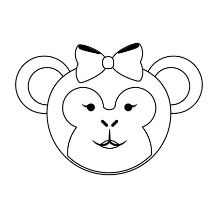 Monkey female with bow cute animal cartoon vector illustration graphic design