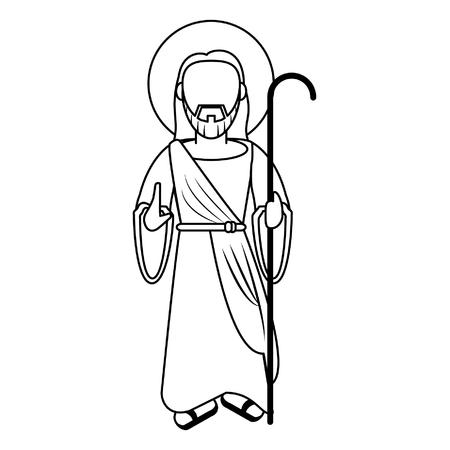 jesuschrist with shepherd stick cartoon vector illustration graphic design Illustration