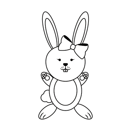Rabbit female with bow cute animal cartoon vector illustration graphic design Ilustração
