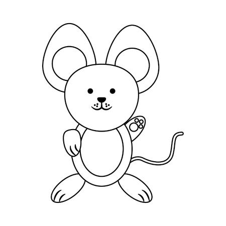 Mouse cute animal cartoon vector illustration graphic design