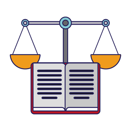 Book open and justice balance symbol vector illustration graphic design Ilustrace