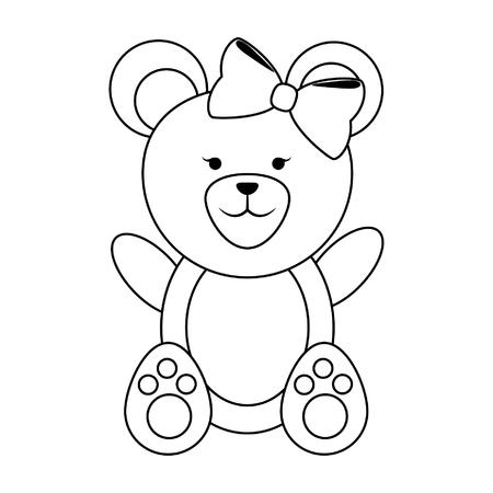Bear female with bow cute animal cartoon vector illustration graphic design