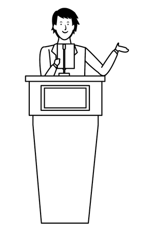 man in a podium making a speech black and white vector illustration graphic design