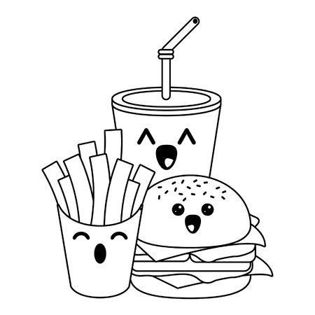 Fast food kawaii soda and burger with french fries cartoon vector illustration graphic design  イラスト・ベクター素材