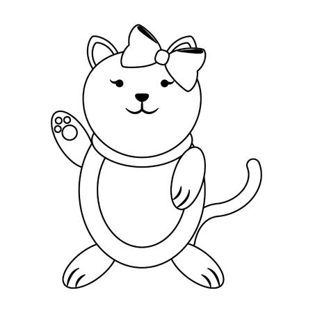 Cat female with bow cute animal cartoon vector illustration graphic design Ilustração