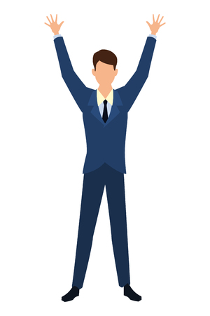 Businessman with arms up cartoon vector illustration graphic design Standard-Bild - 122676047
