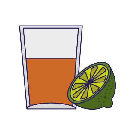 Tequila shot with lemon cartoon vector illustration graphic design