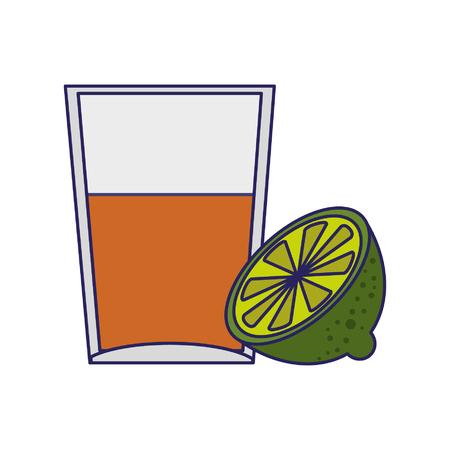 Tequila shot with lemon cartoon vector illustration graphic design