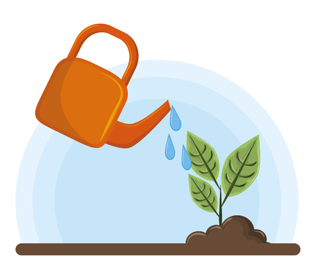 irrigated raised plant icon cartoon vector illustration graphic design