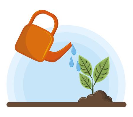 irrigated raised plant icon cartoon vector illustration graphic design