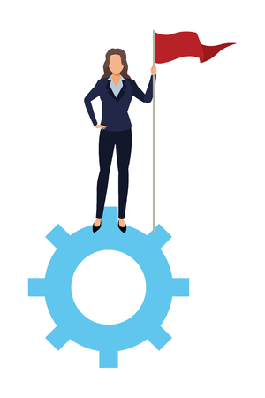 executive business woman with goal flag over gear support cartoon vector illustration graphic design Imagens - 122676179