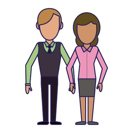 Couple boyfriend and girlfriend clasped hands cartoon vector illustration graphic design Ilustração