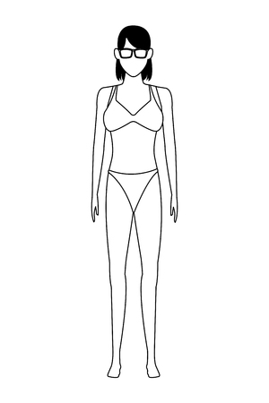 woman wearing swimwear and sunglasses avatar cartoon character black and white vector illustration graphic design Ilustrace