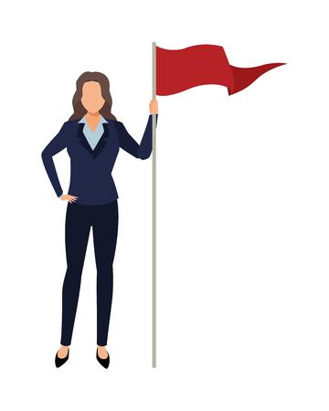 executive business woman with goal flag cartoon vector illustration graphic design Standard-Bild - 122676296