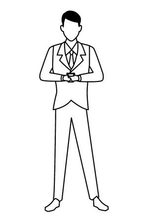 Businessman using smartphone cartoon vector illustration graphic design Illustration