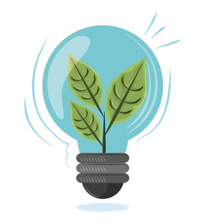 plant into a light bulb icon cartoon vector illustration graphic design Ilustração