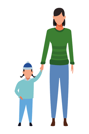 woman with child avatars wearing winter clothes and knitted cap vector illustration graphic design